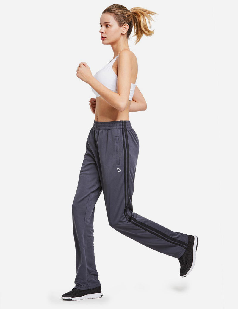Baleaf womens Active Stripe Elastic Waistband Side Pocketed Joggers & Sweatpants gray black full