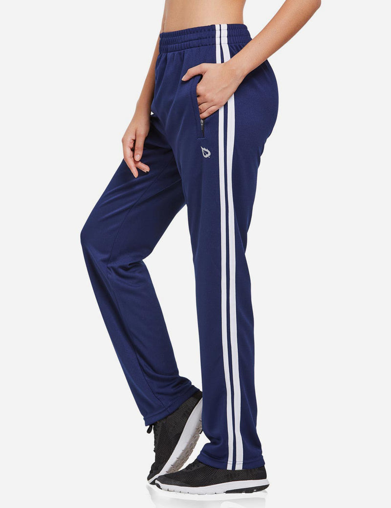 Baleaf womens Active Stripe Elastic Waistband Side Pocketed Joggers & Sweatpants navy white side
