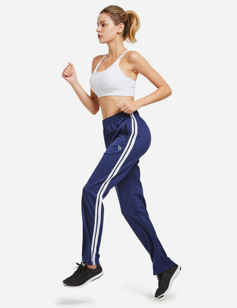 Baleaf womens Active Stripe Elastic Waistband Side Pocketed Joggers & Sweatpants navy white full