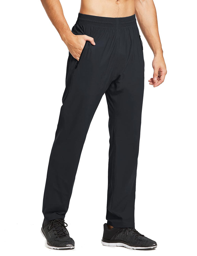 baleaf mens Seamless Quick-Dry Elastic Waistband Pocketed Pants black front main