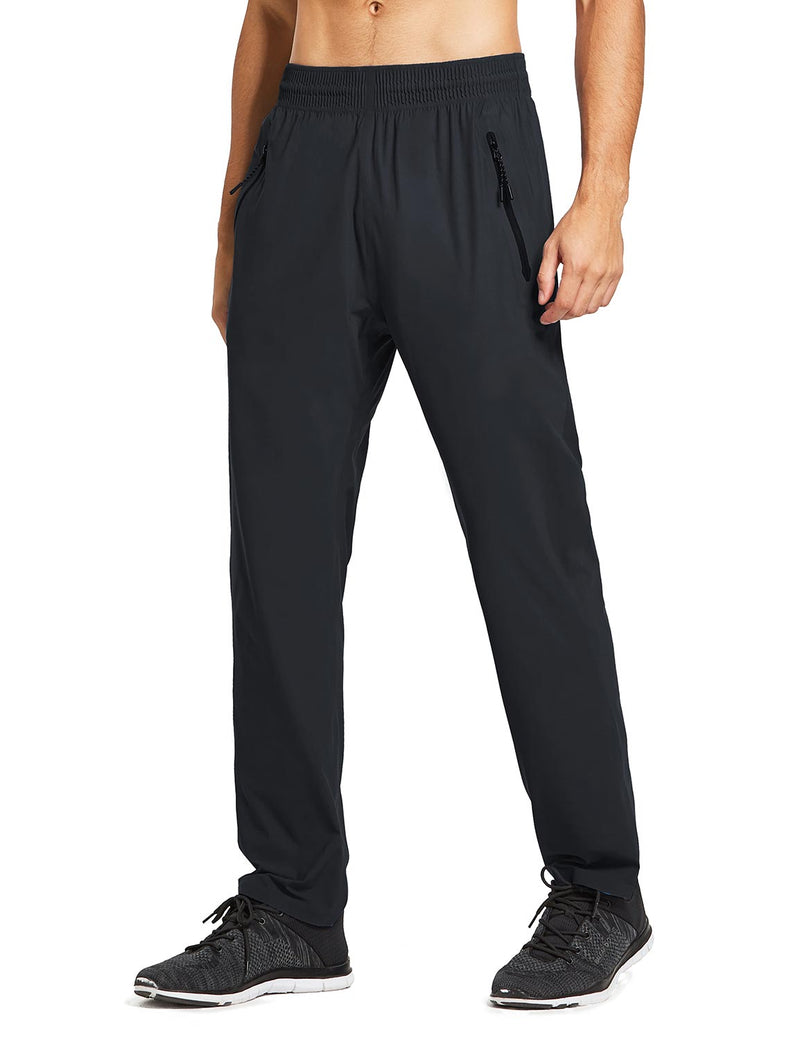 baleaf mens Seamless Quick-Dry Elastic Waistband Pocketed Pants black side