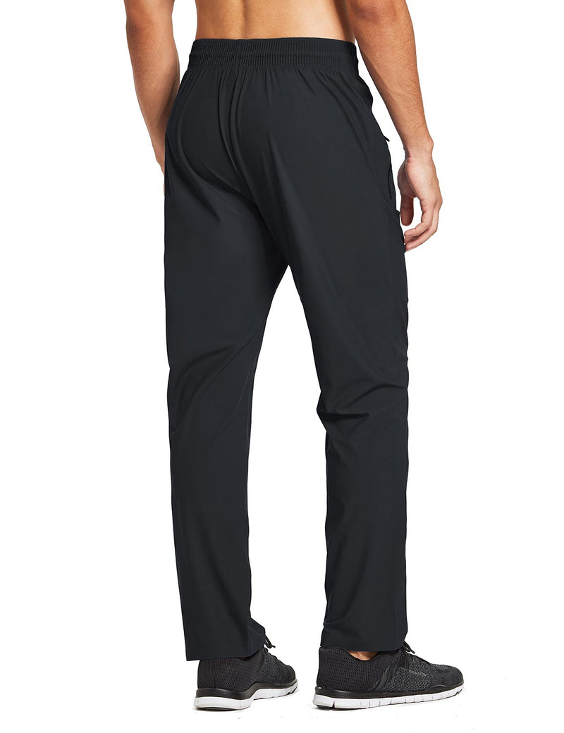 baleaf mens Seamless Quick-Dry Elastic Waistband Pocketed Pants black back
