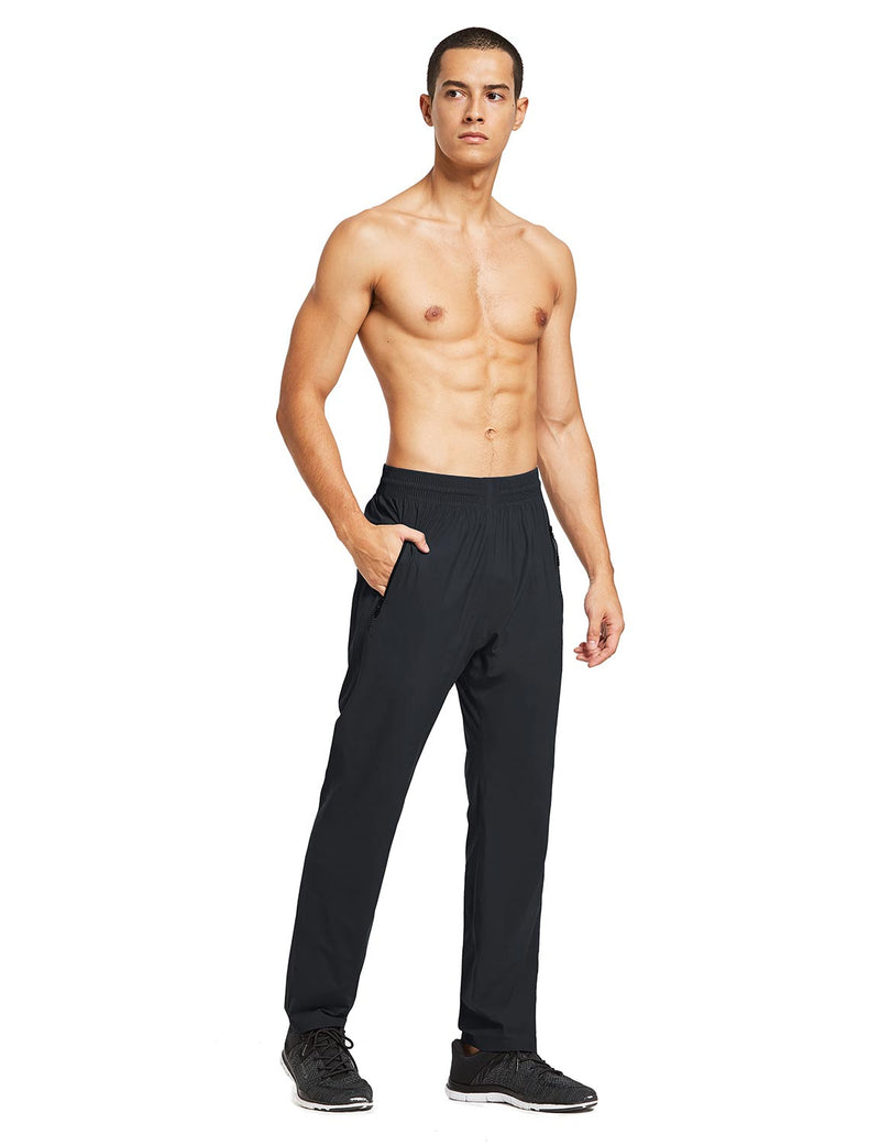 baleaf mens Seamless Quick-Dry Elastic Waistband Pocketed Pants black full