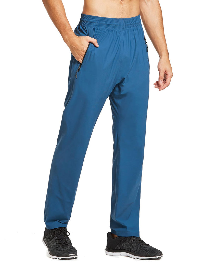 baleaf mens Seamless Quick-Dry Elastic Waistband Pocketed Pants blue front