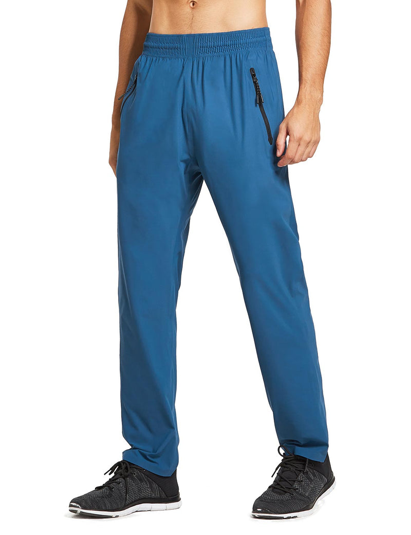 baleaf mens Seamless Quick-Dry Elastic Waistband Pocketed Pants blue side