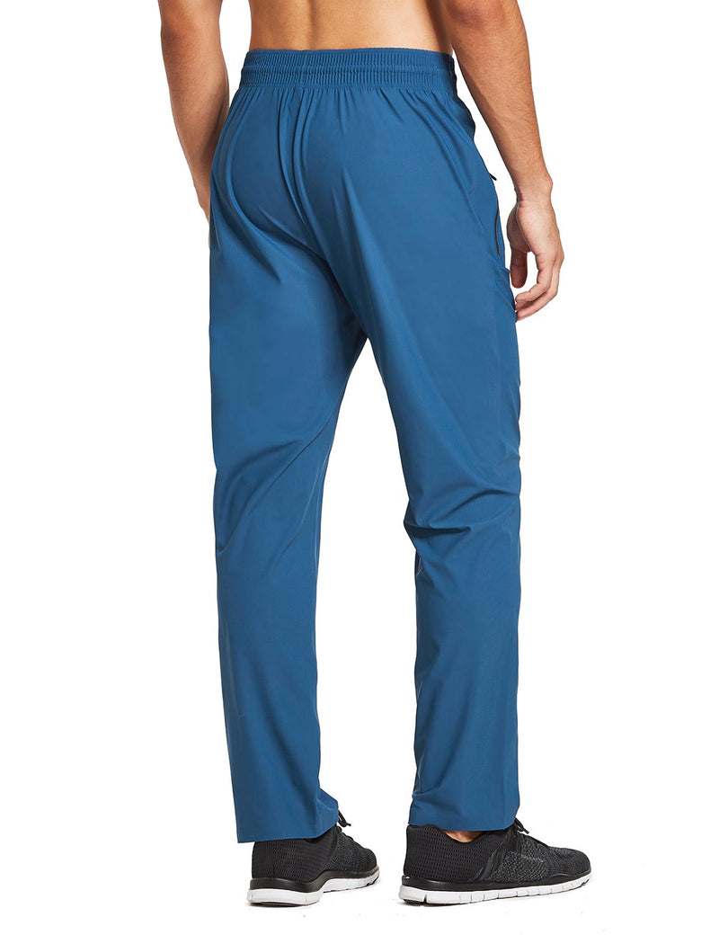baleaf mens Seamless Quick-Dry Elastic Waistband Pocketed Pants blue back