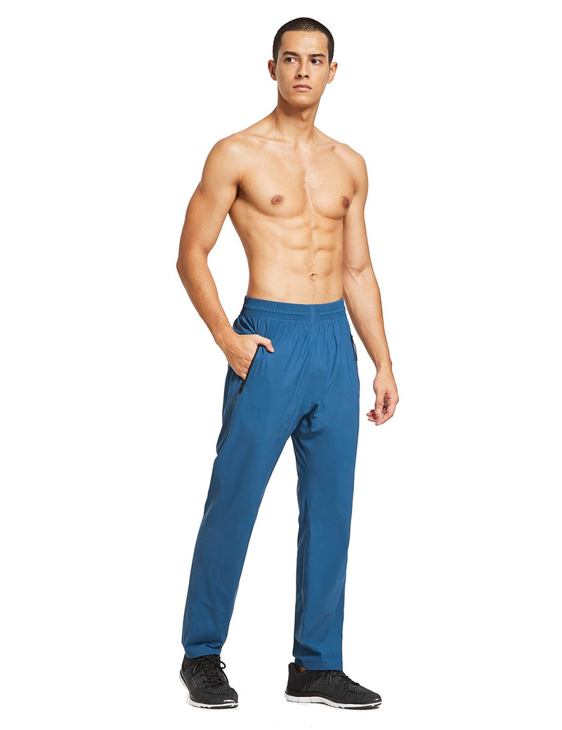 baleaf mens Seamless Quick-Dry Elastic Waistband Pocketed Pants blue full