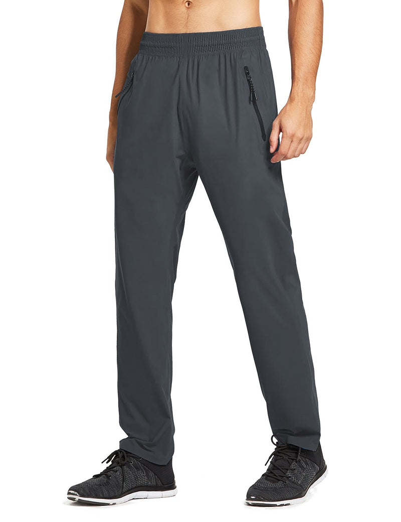 baleaf mens Seamless Quick-Dry Elastic Waistband Pocketed Pants gray side