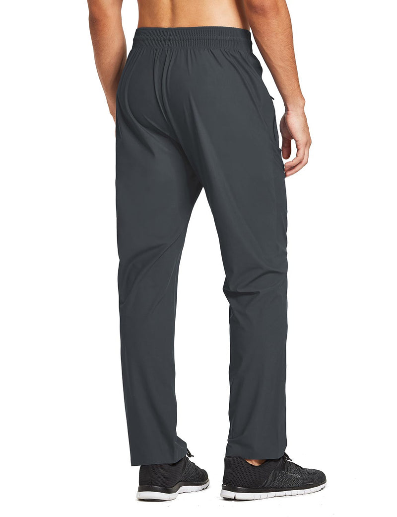 baleaf mens Seamless Quick-Dry Elastic Waistband Pocketed Pants gray back