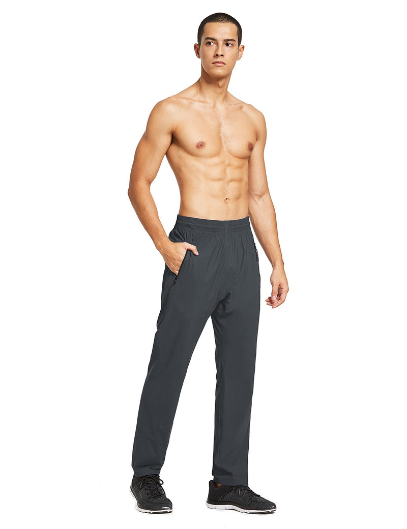 baleaf mens Seamless Quick-Dry Elastic Waistband Pocketed Pants gray full