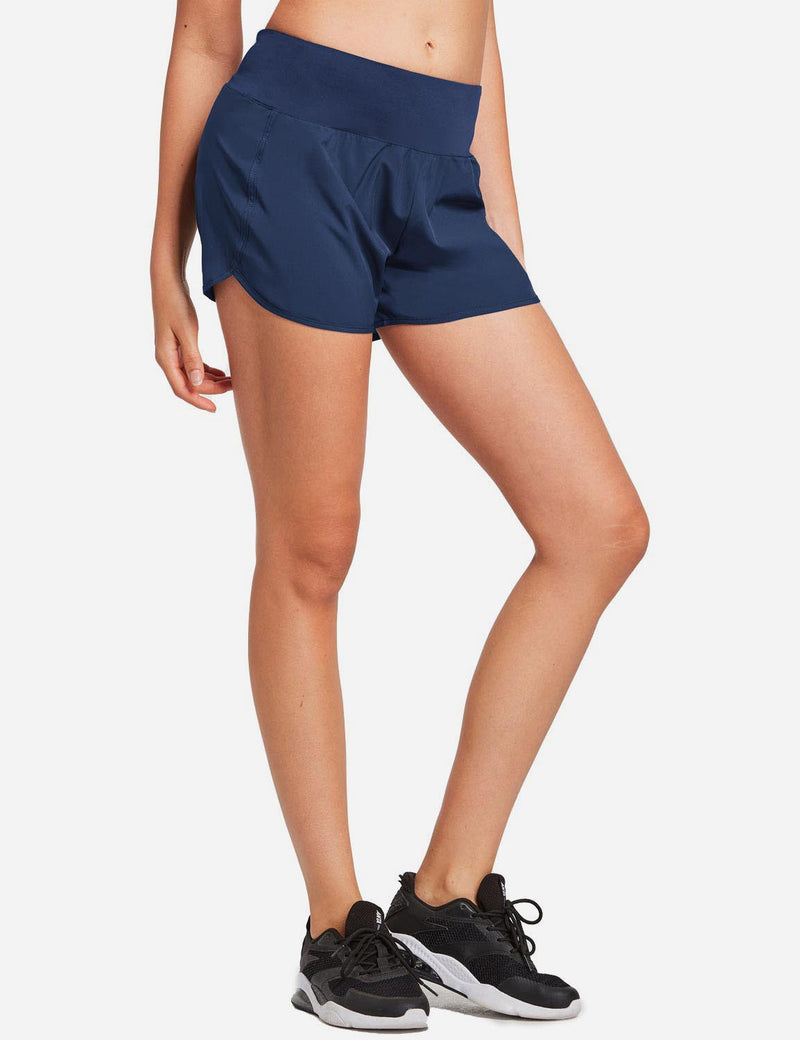 Baleaf Womens Elastic Waistband Hidden Pocketed Quick Dry Split Shorts Navy side