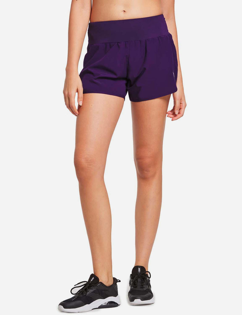 Baleaf Womens High Cut Back & Hidden Pocket Split Leg Running Shorts Purple front