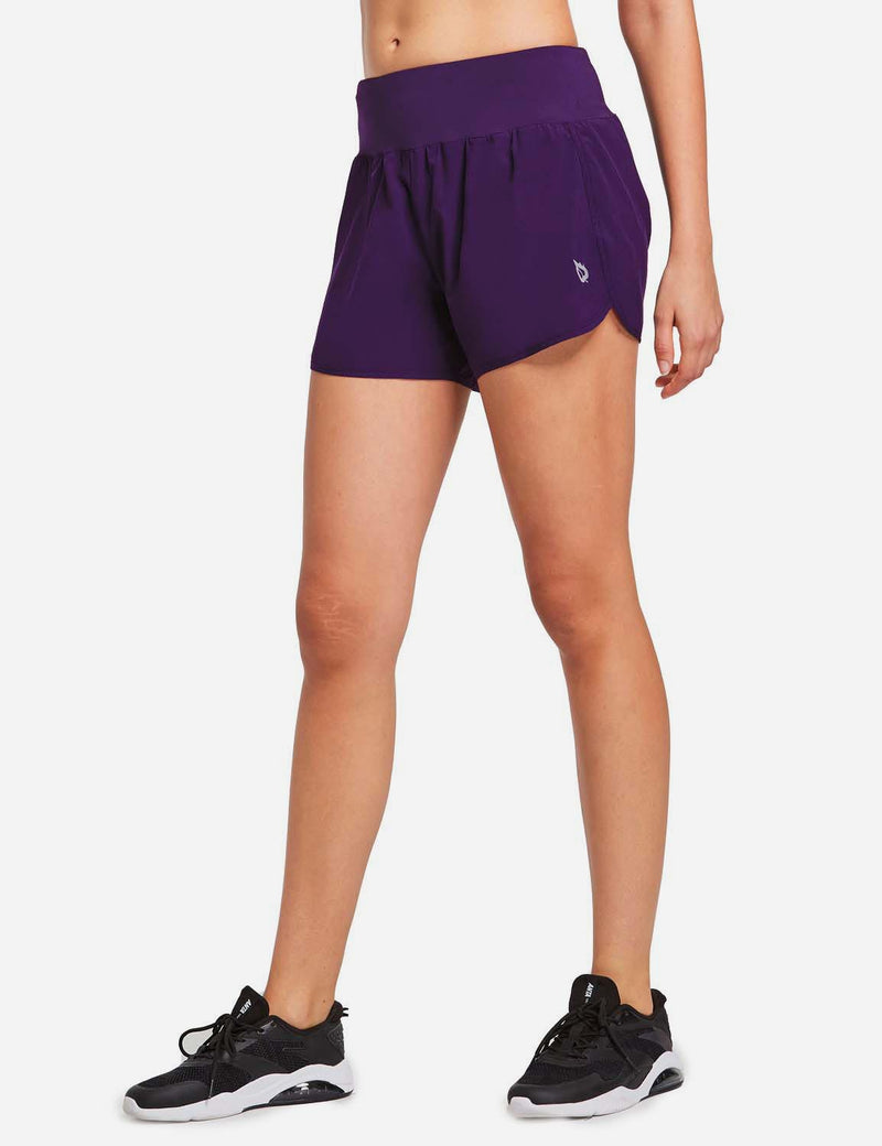 Baleaf Womens High Cut Back & Hidden Pocket Split Leg Running Shorts Purple side