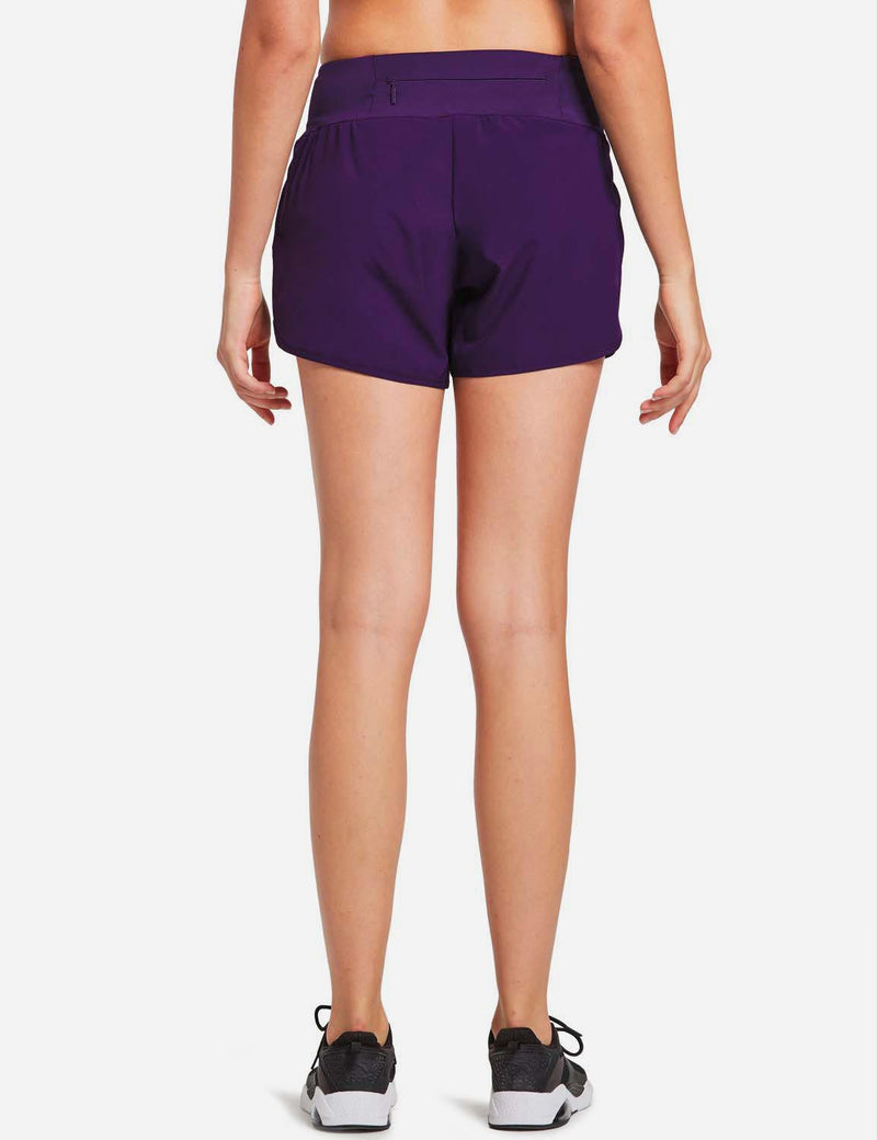Baleaf Womens High Cut Back & Hidden Pocket Split Leg Running Shorts Purple back