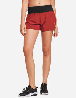 Baleaf Womens High Cut Back & Hidden Pocket Split Leg Running Shorts Red front