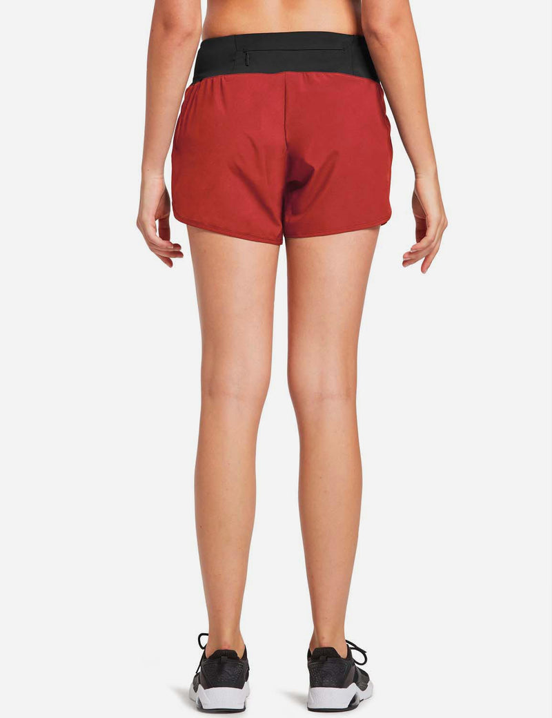 Baleaf Womens High Cut Back & Hidden Pocket Split Leg Running Shorts Red back