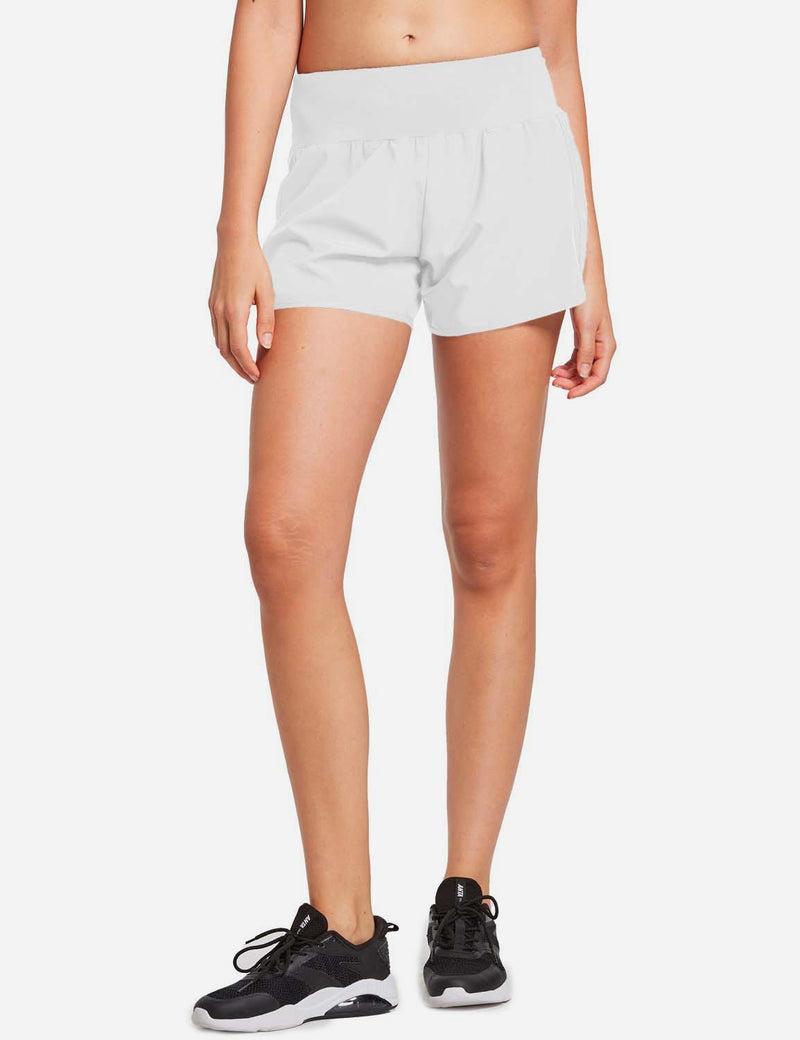 Baleaf Womens High Cut Back & Hidden Pocket Split Leg Running Shorts White front