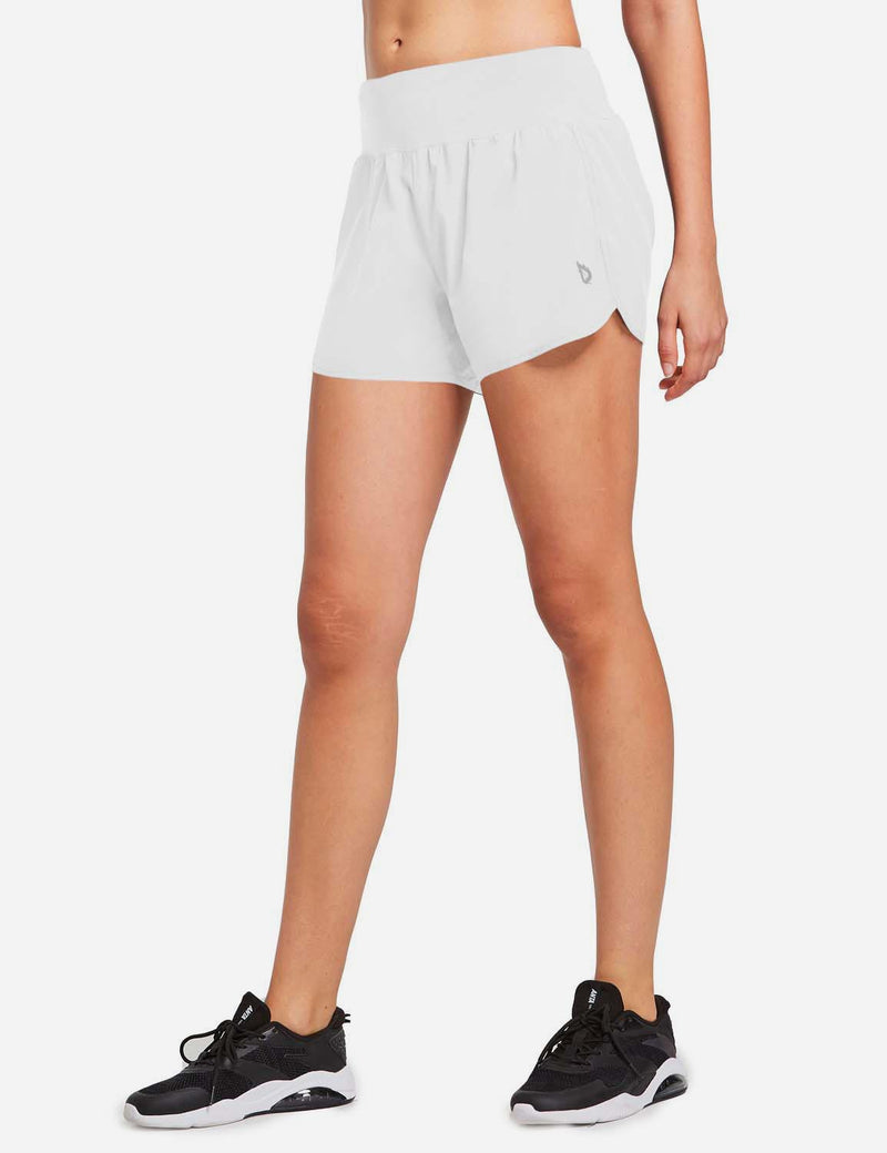 Baleaf Womens High Cut Back & Hidden Pocket Split Leg Running Shorts White side