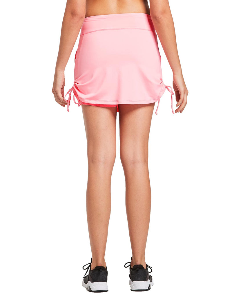 Baleaf Womens 2-in-1 Athletics Skort w Drawcord & Elsastic Waistband Light Pink back