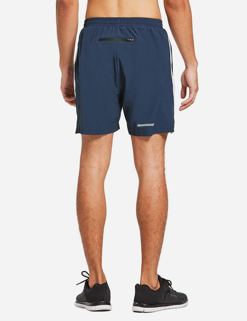 "Baleaf Mens 5"" Zipper Pocketed Running Shorts Navy back"