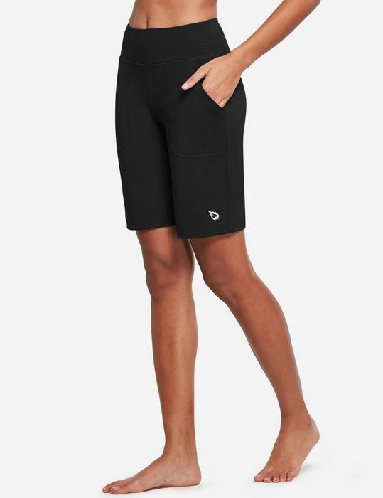 Baleaf Womens Mid Rise Tummy Control Pocketed Lounge Bermuda Shorts Black Side