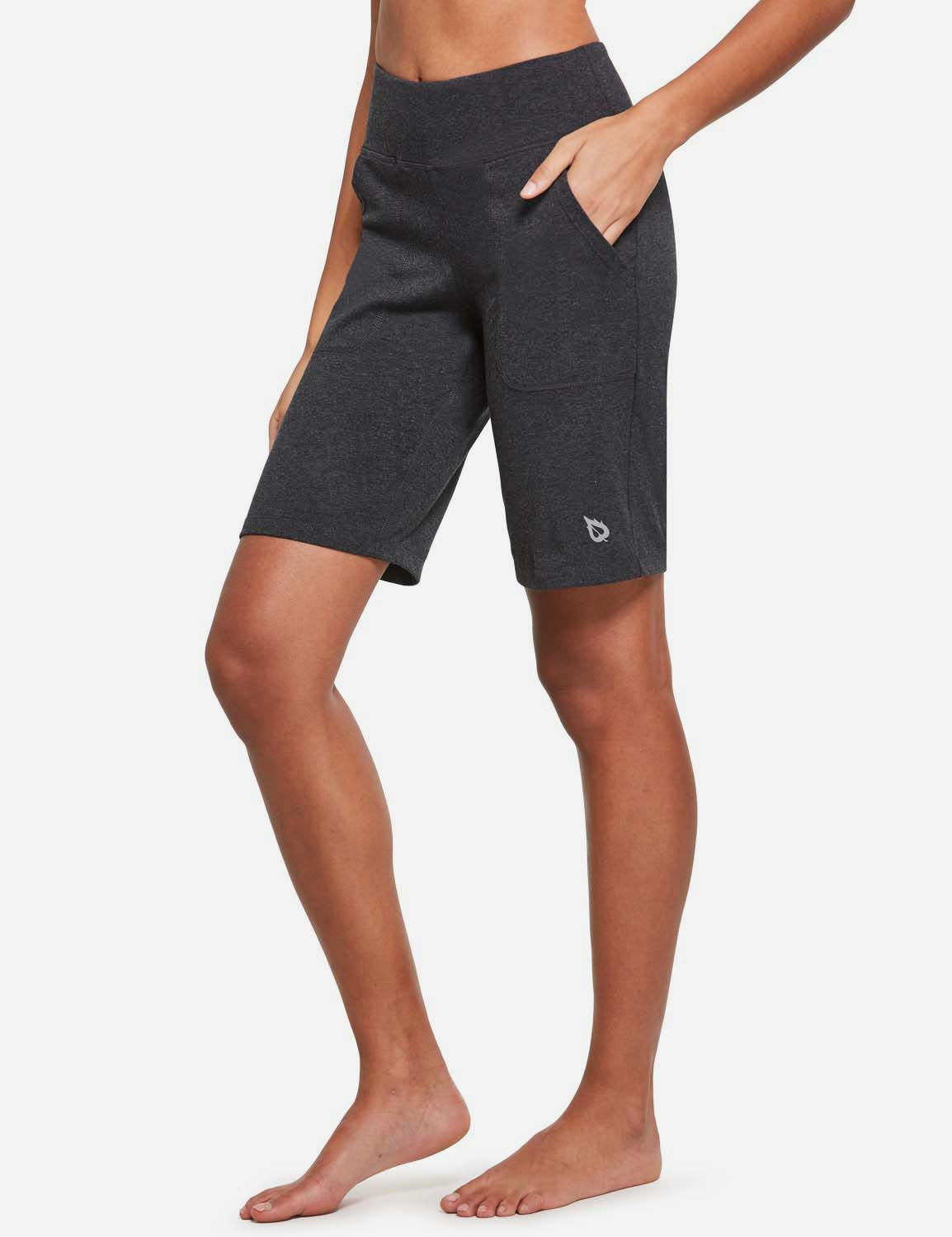 Baleaf Womens Mid Rise Tummy Control Pocketed Lounge Bermuda Shorts Heather Gray side