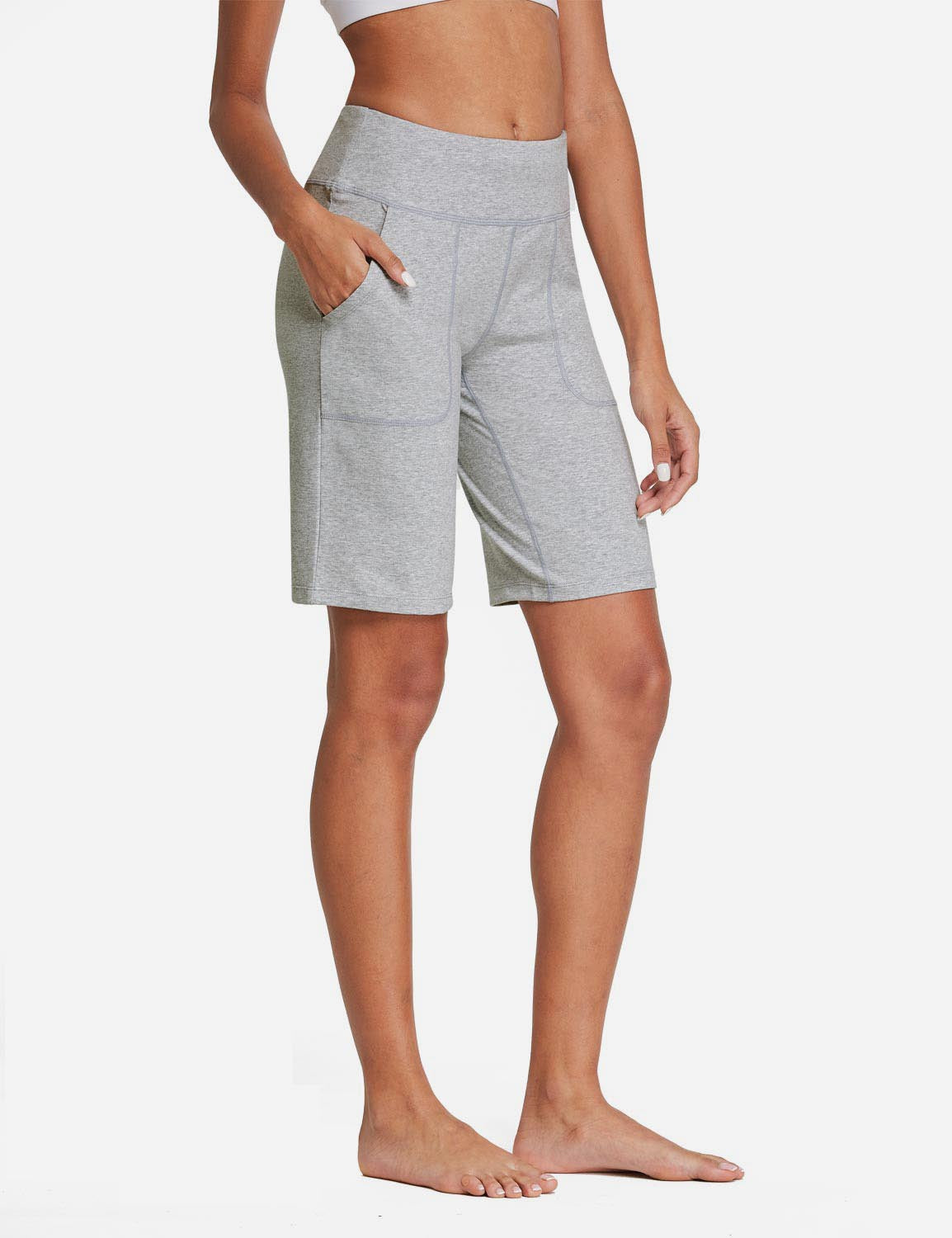 Baleaf Womens Mid Rise Tummy Control Pocketed Lounge Bermuda Shorts Baleaf Womens Mid Rise Tummy Control Pocketed Lounge Bermuda Shorts Light gray  side