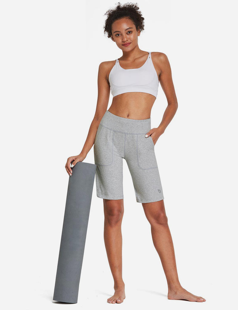 Baleaf Womens Mid Rise Tummy Control Pocketed Lounge Bermuda Shorts Light Gray Full