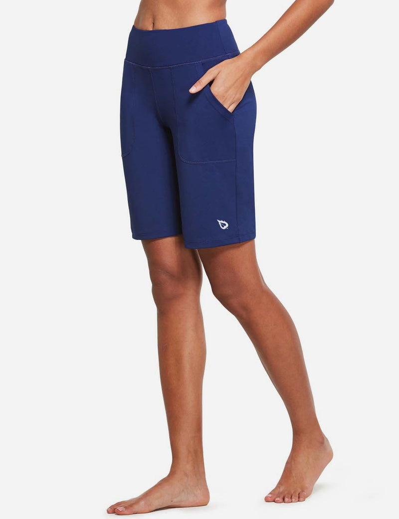 baleaf womens Mid High Waist Lounge Bermuda Shorts with Pockets navy front