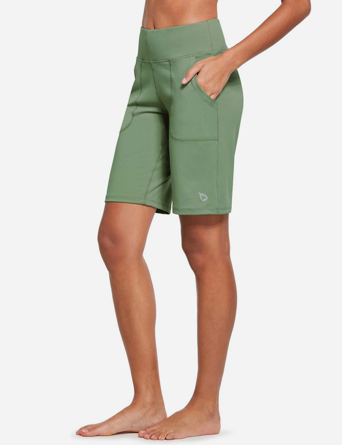 Baleaf Womens Mid Rise Tummy Control Pocketed Lounge Bermuda Shorts Niagara Details Olive Green Side