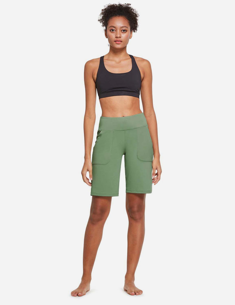 Baleaf Womens Mid Rise Tummy Control Pocketed Lounge Bermuda Shorts Olive Green full