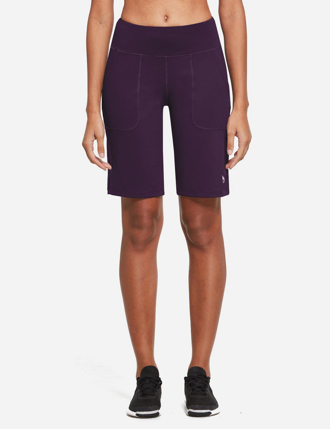 Baleaf Womens Mid Rise Tummy Control Pocketed Lounge Bermuda Shorts Purple front