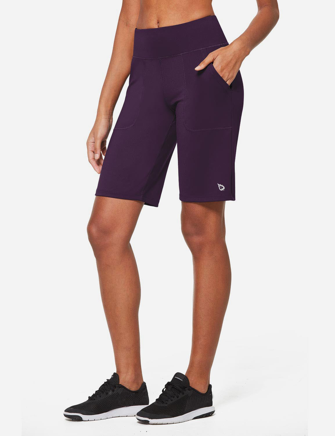 Baleaf Womens Mid Rise Tummy Control Pocketed Lounge Bermuda Shorts Purple Full