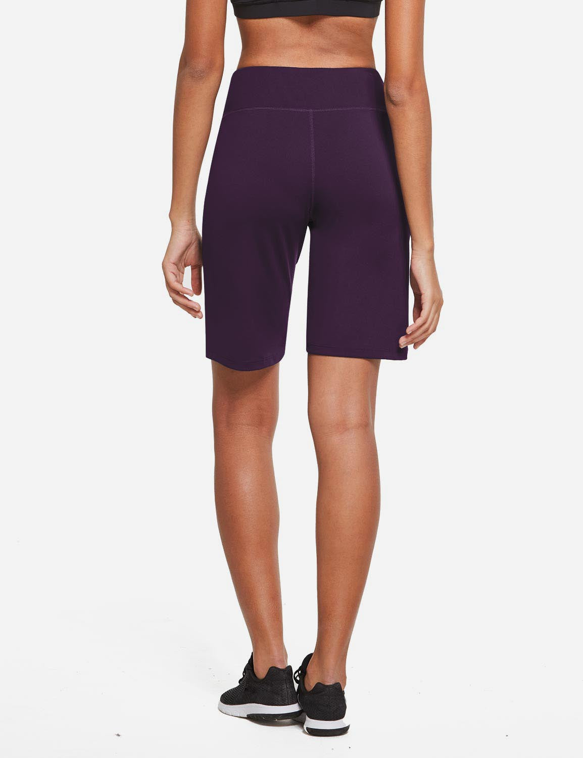 Baleaf Womens Mid Rise Tummy Control Pocketed Lounge Bermuda Shorts Purple Details
