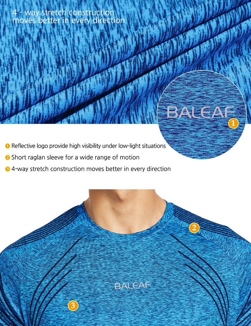 Baleaf Mens Digital Print Invictus Quick Dry Short Sleeve T-Shirt Blue details