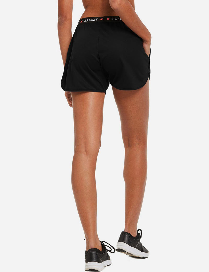 "baleaf womens 3.5"" Pocketed Running Split Shorts Black back"