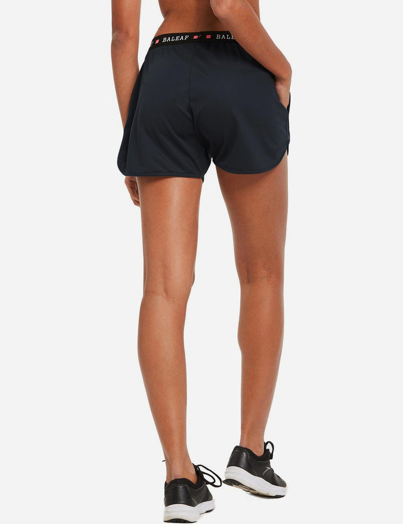"baleaf womens 3.5"" Pocketed Running Split Shorts Navy back"