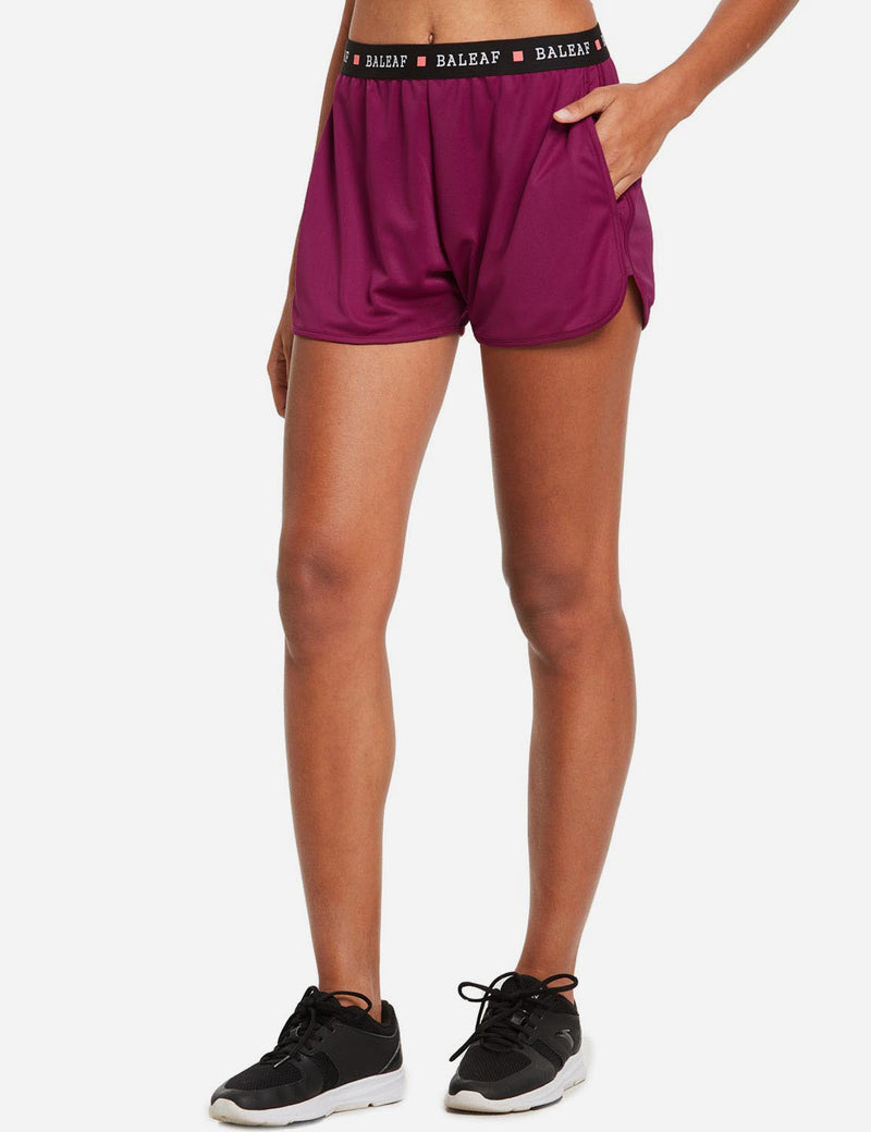 "baleaf womens 3.5"" Pocketed Running Split Shorts Purple side"