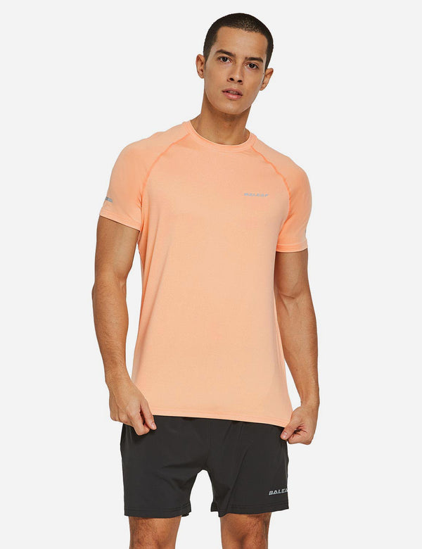 Baleaf Mens Raglan Tagless Quick Dry Short Sleeve Running & Workout T-Shirt Heather Orange front