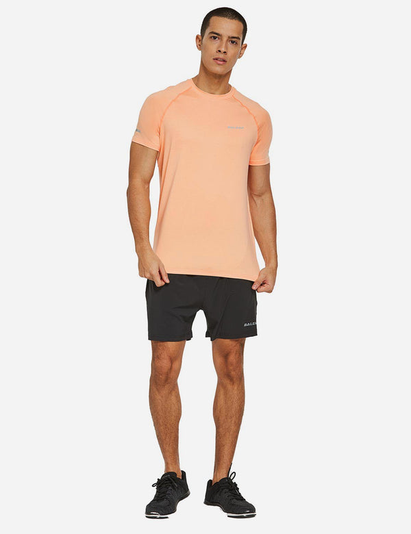 Baleaf Mens Raglan Tagless Quick Dry Short Sleeve Running & Workout T-Shirt Heather Orange full