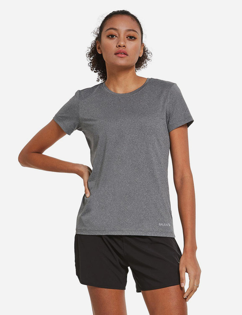 Baleaf Womens Crew neck Comfort Fit Back Pocketed Workout T-Shirt Heather Gray front