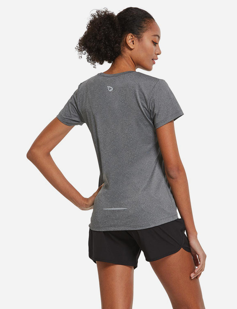 Baleaf Womens Crew neck Comfort Fit Back Pocketed Workout T-Shirt Heather Gray back
