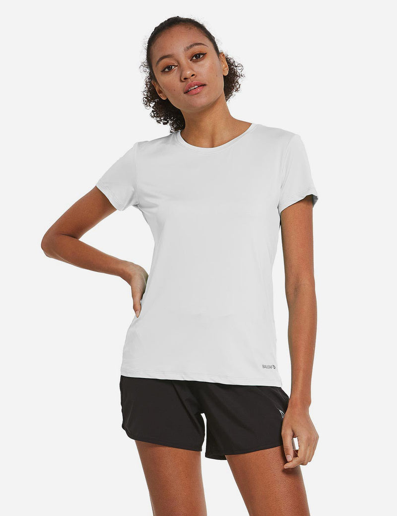 Baleaf Womens Crew neck Comfort Fit Back Pocketed Workout T-Shirt White front