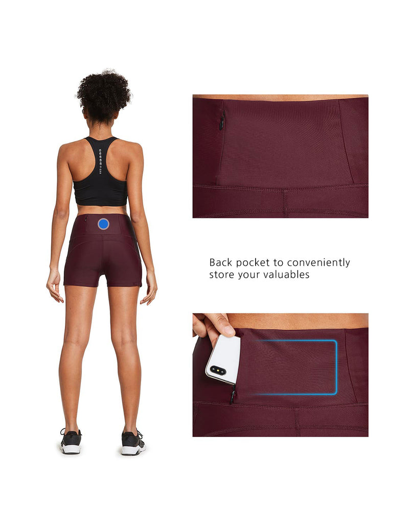 "Baleaf Womens 3"" Tummy Control Back Zippered Pocket Activewear Shorts Wine Red details"