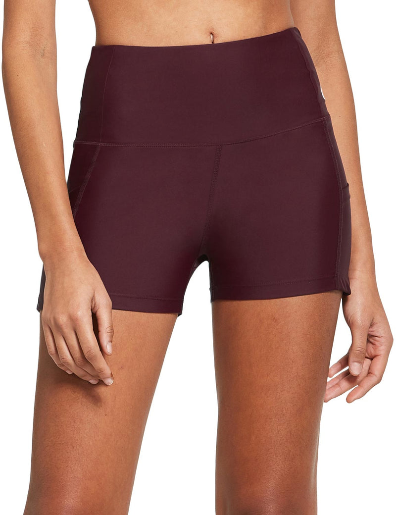 "Baleaf Womens 3"" Tummy Control Back Zippered Pocket Activewear Shorts Wine Red front"