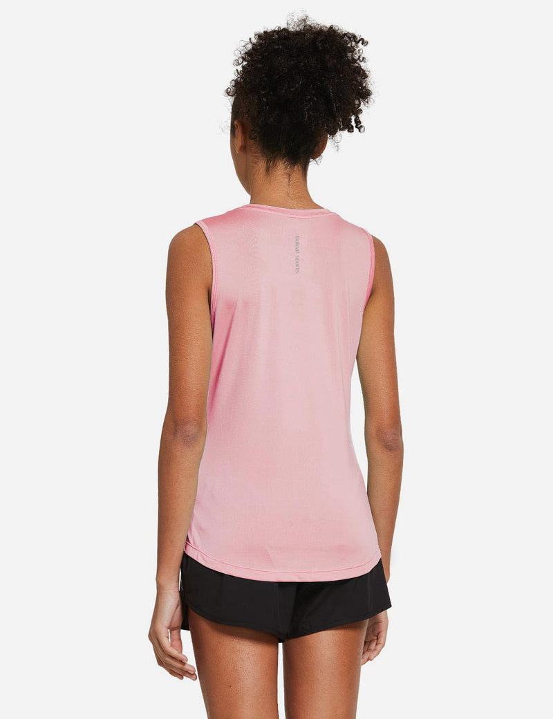 Baleaf Womens Polyester Crewneck Tagless Loose Fit Tank Top Pink Back