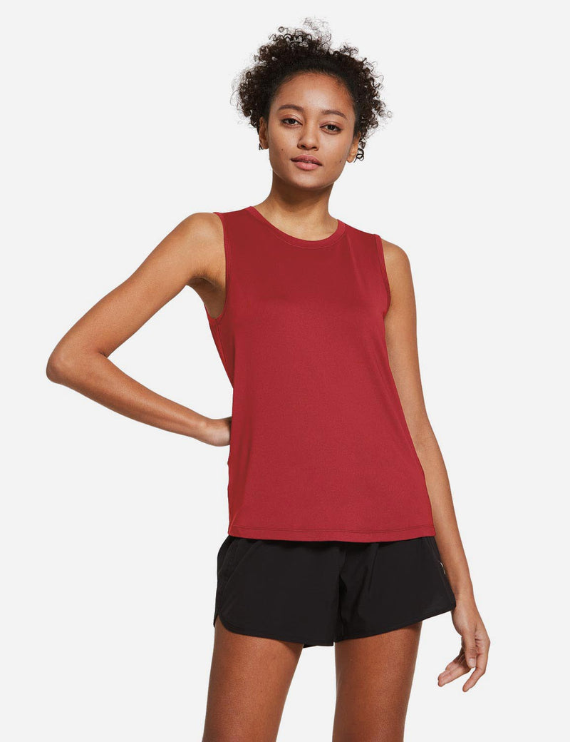 Baleaf Womens Polyester Crewneck Tagless Loose Fit Tank Top Red front