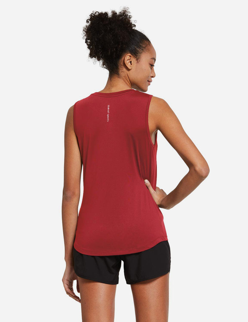 Baleaf Womens Polyester Crewneck Tagless Loose Fit Tank Top Red back