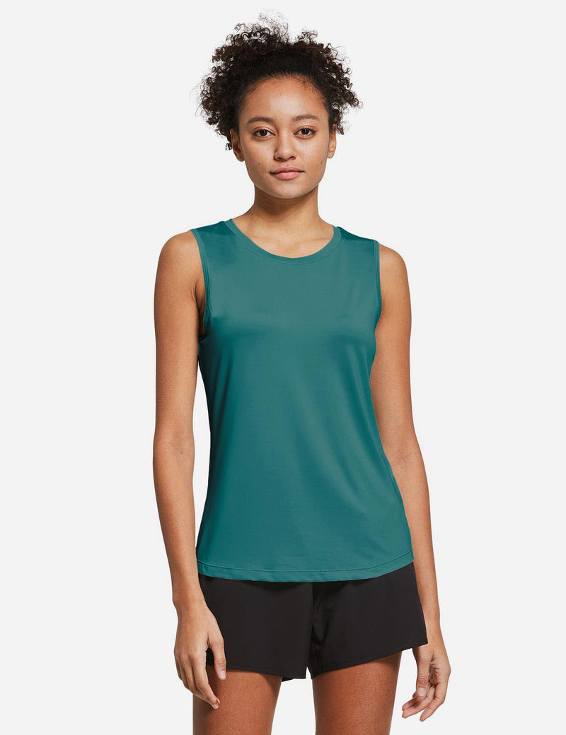 Baleaf Womens Polyester Crewneck Tagless Loose Fit Tank Top Teal Front