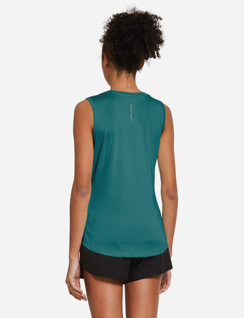 Baleaf Womens Polyester Crewneck Tagless Loose Fit Tank Top Teal Back